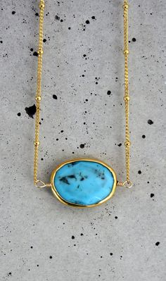 Turquoise Bezel Gold Necklace by keijewelry on Etsy
