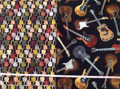Guitar fabric - two imperial fat quarters  by QuiltAroundTheClock on Etsy https://www.etsy.com/listing/220058617/guitar-fabric-two-imperial-fat-quarters
