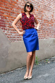 Red Black polka dot top, cobalt skirt or jeans; Add cardigan in fall/winter?