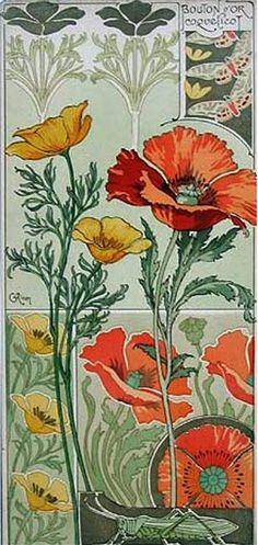 "ART NOUVEAU: Patroon ~Papaver/Klaproos van C.Riom ""Etude de Fleurs~"