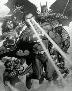 Justice League by Eddy Newell Marvel And Dc Characters, Comic Book Characters, Comic Books Art, Comic Art, Superman, Batman, Black And White Comics, Green Lantern Corps, Cartoon Games
