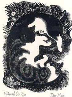 Cats in Art and Illustration: Eileen Mayo (1906-1994), ca 1948, Mother And Son, wood engraving,