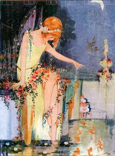 STUNNING POND Fairy & Golden Fishes. Water Sprite Vintage Print. Hilda Cowham Art Deco Fairy. Vintage Fairy Digital Download