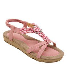 Pink Flower-Embellished Leather Sandal