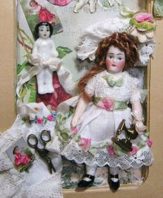 "3"" Miniature All Bisque Antique German Doll &China Frozen Charlotte Doll"