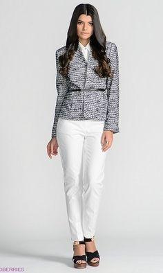 Пиджак манго, белый верх, белые брюки, черные туфли