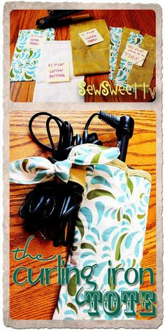 Free sewing pattern for a curling iron cozy (for packing irons that haven't completely cooled).