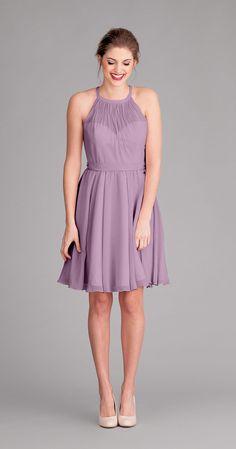 Kennedy Blue Sienna is a beautiful crinkle chiffon bridesmaid dress with a high illusion neckline.