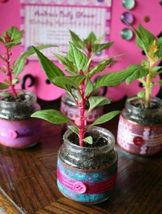 Plants in baby food jars. Cute party decoration!