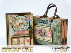 *ClayGuana: Graphic 45 Safari Adventure - Mini Album in a Case. Mini Photo Albums, Mini Albums Scrap, Mini Scrapbook Albums, Papel Scrapbook, Graphic 45, Altered Books, Altered Art, Tutorial Scrapbook, Journaling
