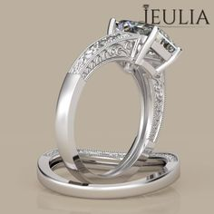 360 View of Milgrain Emerald Cut Created White Sapphire Rhodium Plated Sterling Silver Women's Ring
