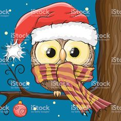Owl in a Santa hat royalty-free owl in a santa hat stock vector art & more images of owl