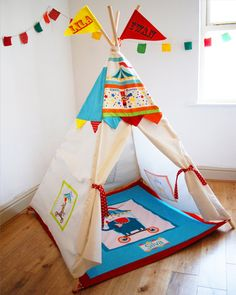 Circus play house teepee for children's bedroom beach garden personalised Play Teepee, Teepee Kids, Teepee Tent, Teepees, Kids Furniture, Furniture Decor, Kids Tents, Home And Deco, Kids Bedroom