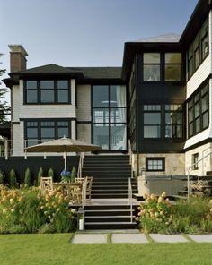 Black Rocky Ledge Exterior - contemporary - exterior - boston - by LDa Architecture & Interiors Exterior Colors, Exterior Paint, Exterior Design, Exterior Windows, Exterior Stairs, Black Exterior, Veranda Interiors, Dark Trim, Garden In The Woods