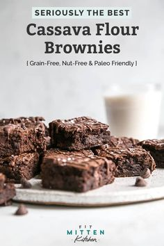 Cassava flour is a root so these brownies are grain-free. You will surprise friends and family with this recipe – fudgy, dense perfect brownies made gluten-free and paleo friendly. Paleo Sweets, Paleo Dessert, Gluten Free Desserts, Cassava Recipe, Cassava Flour Recipes, Paleo Baking, Gluten Free Baking, Dairy Free Brownies, Paleo Brownies