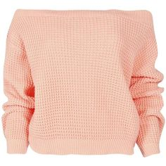 Boohoo Kate Crop Slash Waffle Knit Jumper featuring polyvore, fashion, clothing, tops, sweaters, shirts, jumpers, waffle shirt, waffle knit sweater, waffle sweater, red cropped sweater and polyester shirt