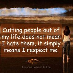 Don't feel guilty about respecting yourself or your space, sometimes it's necessary to avoid negative people& conflict, including family