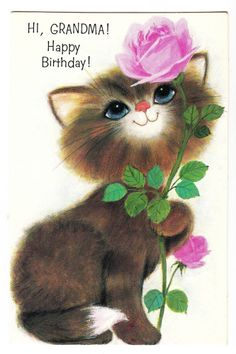 Vintage Fluffy Cat Smelling Rose Grandma Birthday Greeting Card