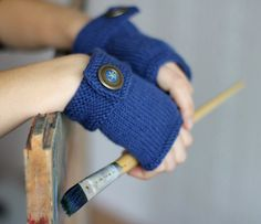 Hand Knit blue gloves with vintage buttons Knitted by aisimknits