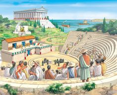 Actors perform a play in an amphitheatre while the work of an ancient Greek town continues around them via Q Files Ancient Persia, Ancient Rome, Ancient Greece, Ancient World History, Greek History, Ancient Greek Architecture, Historical Architecture, Greco Persian Wars, Greek Town