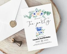 Floral invitation for a tea party with watercolor tea cups perfect for a girl birthday Tea Party Invitations, Floral Invitation, 3rd Birthday, My Design, Tea Cups, My Etsy Shop, Place Card Holders, Baby Shower, Watercolor
