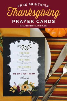 Free Printable Prayer cards for Thanksgiving dinner or to use as an art print in your home. Print cards to hand out to everyone at your table and share your gratitude with one another! Designs by Elegance and Enchantment. Thanksgiving Parties, Thanksgiving Cards, Thanksgiving Decorations, Thanksgiving Dinner Prayer, Fall Decorations, Printable Activities For Kids, Free Printables, Printable Prayers, Prayer Cards