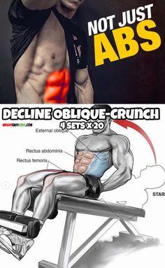 Decline Oblique-Crunch Oblique Crunches, Gym Workouts, Morning Workouts, Fitness Exercises, Inside Job, Workout Guide, Sciatica, Bodybuilding, Fitness Motivation