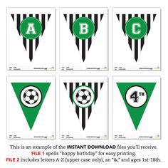 INSTANT DOWNLOAD Soccer Party Green DIY printable by Chickabug