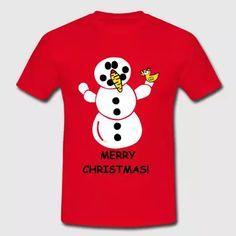 Merry Christmas Schneemann Schnee T-Shirt Xmas - Männer T-Shirt