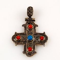 Sterling Cross with Turquoise & Coral Coral Jewelry, Beaded Jewelry, Sterling Silver Cross, Coral Turquoise, Shades Of Red, Cross Pendant, Vintage Jewelry, Jewelry Making, Pendants