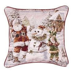 Santa's Helpers Snowman 17x17 Christmas Holiday Tapestry Toss Pillow USA Made by Simply Home ** You can find out more details at the link of the image. (This is an affiliate link) #SimpleHomeDecor