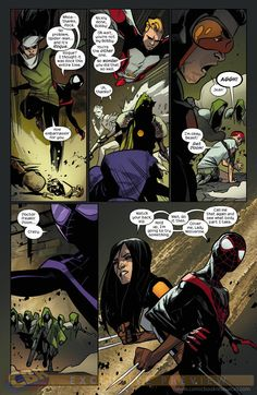 ALL-NEW X-MEN #35 … JANUARY 2015     Brian Michael Bendis (W) * Mahmud Asrar (A) * Sara Pichelli, Marte Gracia (C) … PAGE 4 ... The ALL-NEW X-MEN continue their adventure in the Ultimate Universe! • Guest-starring Miles Morales and scores of other Ultimate characters! • Will either universe ever be the same again?  #AllNewX-Men