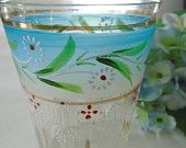 Vintage Hand Painted Glass / Drinking Glass / Blue Glass / Glass With Flowers / Bathroom Drinking Glass / Q Tip Glass / Bathroom Storage