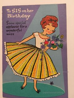 Vintage Birthday Card Sister NOS Unused 1950s