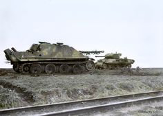Knocked out Jagdpanther near to Remagen bridge. My colored picture.