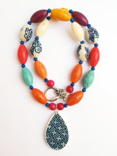 Colorful Statement Necklace, Multicolored Pottery Shard Necklace by polishedtwo, $28.00