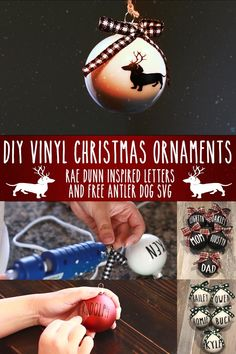 These Rae Dunn inspired ornaments were a huge hit for me last year, so I decided to make an easy tutorial for you to make your own. I also added a cute image of a Dachshund dog with Reindeer antlers. Vinyl Christmas Ornaments, Christmas Svg, Christmas Decorations To Make, Christmas Time, Vinyl Crafts, Vinyl Projects, I Love Diy, Crafts To Make And Sell, Happy Dance