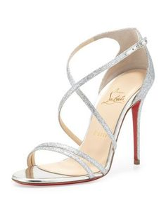 Christian Louboutin Gwynitta Glitter Open-Toed Sandal, Silver Wedding Shoes to die for. Silver Heels Prom, Silver Strappy Heels, Glitter Sandals, Prom Heels, Strappy Sandals, Heeled Sandals, Red Sandals, Homecoming Shoes Silver, Shoes For Prom