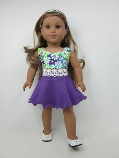 American Girl doll clothes -2 pc -Purple   skater  skirt and crop top with lace hemline by JazzyDollDuds.