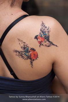 Colourful / Abstract Birds Tattoo by Sunny Bhanushali at Aliens Tattoo, Mumbai.