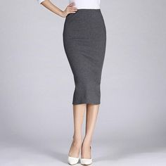 Women Formal Work High Wasit Knitted Cotton Pencil Skirts Elastic Solid Slim Long Skirts Split Package Hip Maxi Skits Darkgray O Pencil Skirt Work, Pencil Skirt Dress, Midi Skirt Outfit, Pencil Skirt Outfits, High Waisted Pencil Skirt, Pencil Skirts, Pencil Dresses, Cotton Maxi Skirts, Cotton Dresses