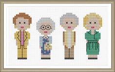 This is a counted cross stitch PDF ePattern for the 4 gals from Golden Girls. This pattern arrives as an Instant Download! A few minutes after your payment is processed, youll receive a separate email with a link to download your pattern(s) immediately.  Pattern Specs: Fabric: 14 count Design Area: approx. 2.5 x 4.5 Stitches used: X-stitch, Backstitch  This PDF ePattern comes with: ~ Easy to read Full-Color Grid Pattern ~ Basic Directions ~ DMC & Anchor Color Key ~ finished image(s) to us...