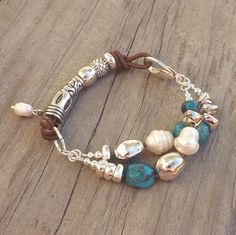 Turquoise Freshwater Pearl Silver Bracelet, Boho Leather Southwest Native American Chunky Statement Jewelry, 2013 Trends, Under 35 Dollars