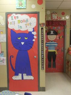 pete the cat- back to school door board- white shoes with their names & on 1st day, they get to find their shoe, pull it down & customize it for morning activity- then put it back on the door