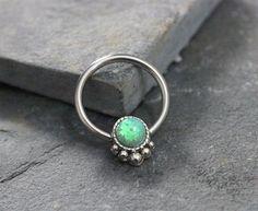 Green Opal Fire Conch Hoop Earring, Septum Cartilage Helix Nipple Daith, Captive Bead Earring, 14G 16G 316L Surgical Steel by Purityjewel on Etsy