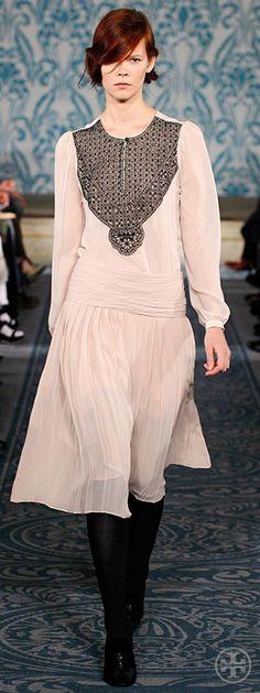 Look 30, Irina: Beaded chiffon top, Pleated crepe de chine skirt