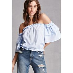 f4e6b550f80 Forever21 Off-the-Shoulder Pinstripe Top ( 28) ❤ liked on Polyvore featuring