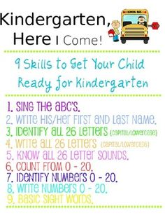 A packet for parents on what every child should know before entering kindergarten. We handed these out to our parents at registration so that they could work on these skills with their child over the summer!