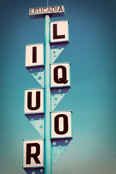 Vintage Route 101 Leucadia Liquors Googie Sign - READY TO SHIP - Retro Bar Decor - San Diego Sign Art - 4X6 Fine Art Photograph. via Etsy.