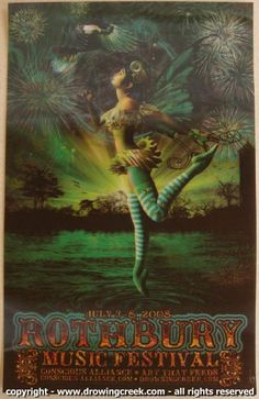 Rothbury Festival, 2008. Designed by Jeff Wood of Drowning Creek Studios. This is a 3-D Lenticular poster printed on clear plastic. One of my favorites in my personal collection.